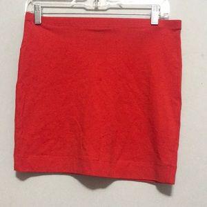 Red Basic Cotton Mini Skirt